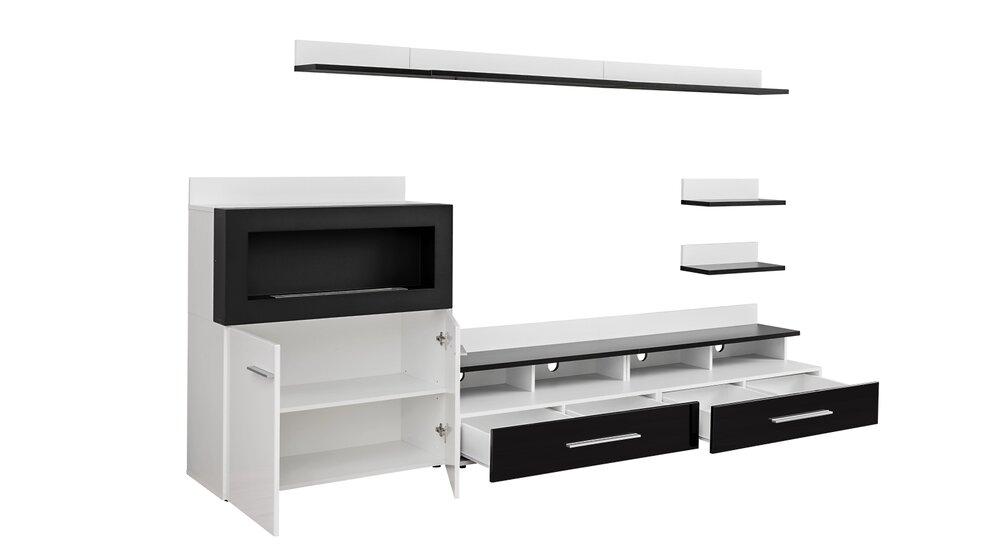 Stylefy Camini Wohnwand Weiß Schwarz - Möbel online kaufen ...