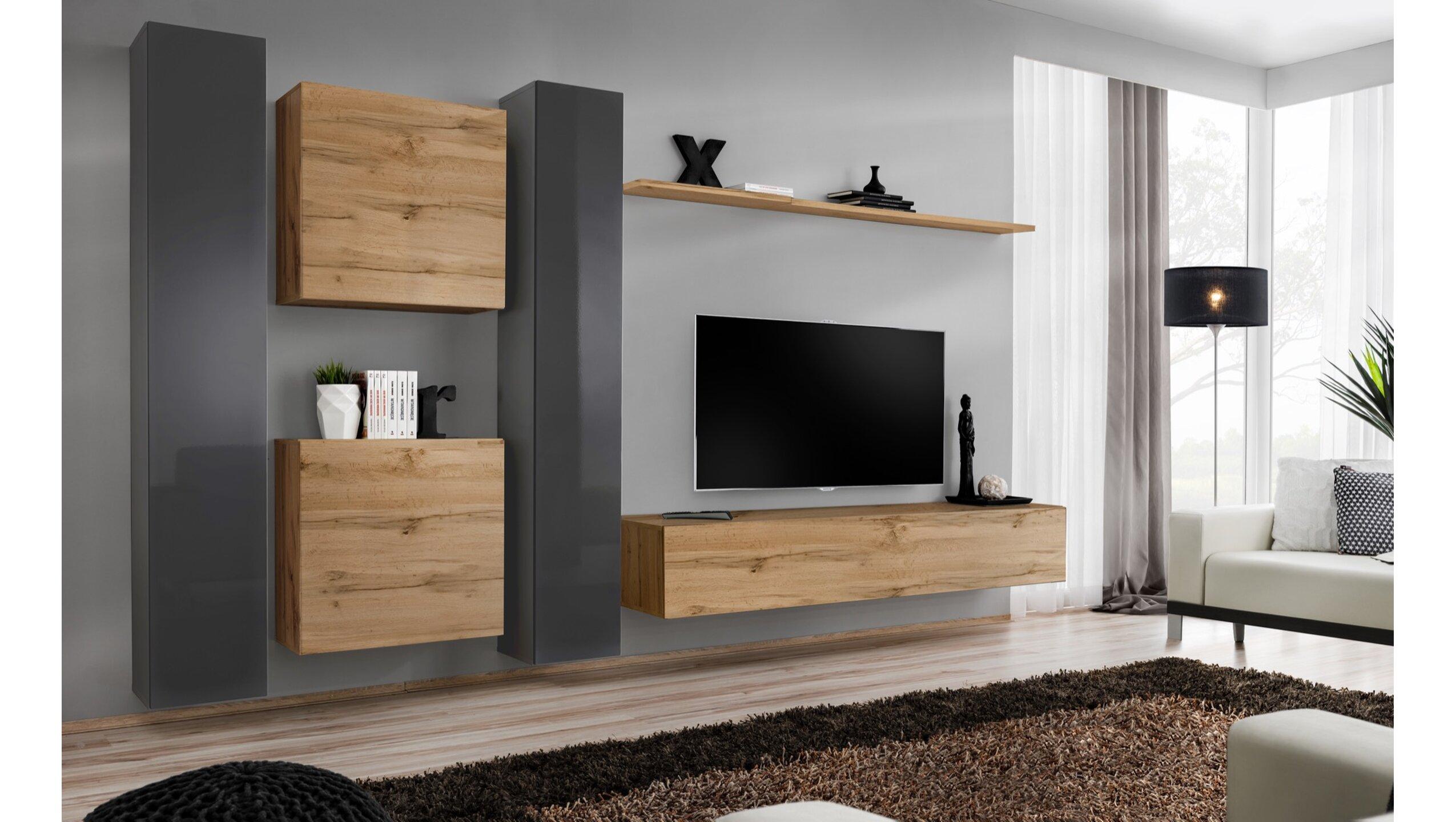 Stylefy Swotch VI Wohnwand Grau Wotan Eiche Grau   Möbel online kaufen » jetzt b