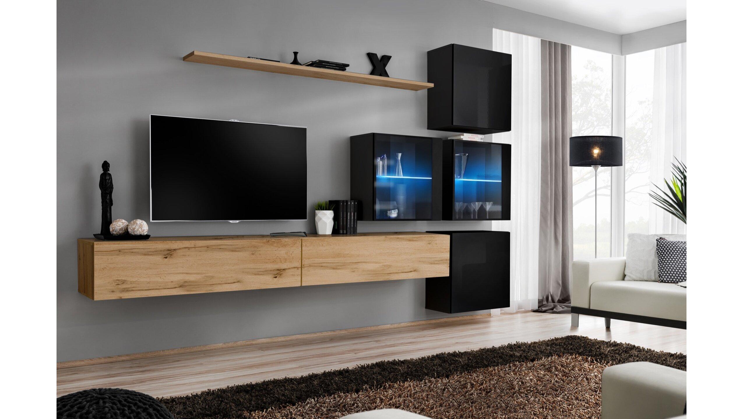 Stylefy Swotch XIX Wohnwand Wotan Eiche   Schwarz   Möbel online kaufen » jetzt